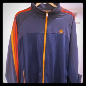 ADIDAS Men's XL Navy/Orange Stripes ZIP Up